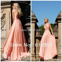 2014 Attractive Round Neck Prom Dresses Beaded Cap Sleeve Backless A-Line Floor-Length Chiffon Tarik Ediz  Party Dress GH022