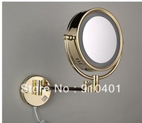 Hot Sale Wholesale And Retail Promotion  LED Golden Wall Mounted Bathroom Dual Side Magnifying Makeup Mirror Fold Mirror
