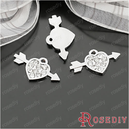 27787 Fashion Jewelry Findings Charms Pendants 23 13MM Chrome Plated Alloy Cupid Heart Arrow with