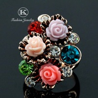 New 2014 Fashion brands Designer 18K Plated Really Gold Austrian Crystal  Unique Rose Flower Woman Wedding Ring FREE SHIPPIN