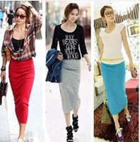 Han edition OL 'handbags hip skirt candy color bag hip skirt of tall waist bust one pace skirt