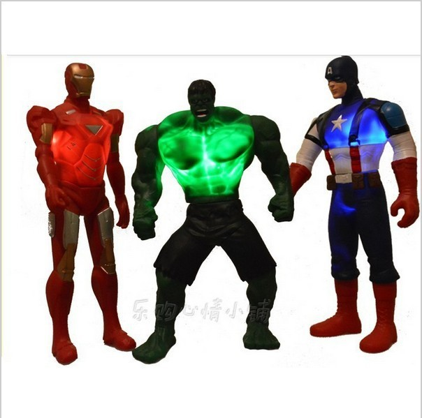 3pcs Luminous toy The Avengers Iron Man Captain America toy Hulk model can be moving Classic electronic toys sound and light(China (Mainland))