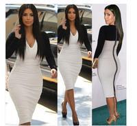 2014 Elegant Ladies' V-Neck Fashion Celebrity Pencil Dress,Women Wear to Work Slim Knee-Length Pocket Party Bodycon Dress S-XXL