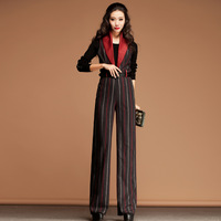Autumn Winter Fashion Womens Striped Sleeveless Woolen Wide Leg Straight Pants , Women Casual Wool Jumpsuits Overalls For Women