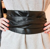 free shipping New fashion  ultra wide female cummerbund women's all-match faux leather belt abdomen drawing decoration bow belt