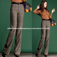 2013 New Style Fall Winter Women's Plaid Wide Leg Flare Woolen Pants , Casual High Waist Women Straight  Patchwork Wool Trousers
