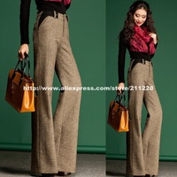 Winter Fashion Formal Women's  Woolen Wide Leg Patchwork Flare Pants , Casual Slim Women Bell Bottom Straight Woolen Trousers
