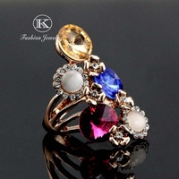 18K Rose Gold Plated with Rhinestones Five Multicolour SWA ELEMENTS Austrian Crystal Water Drop Ring FREE SHIPPING!
