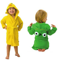 Retail  new design Terry Bathrobe Hoodie Hoody Costume Bath Towel Baby Robe Kids Robes  Baby Cartoon Hooded 3styles