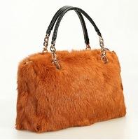 2013 women's fur handbag genuine leather rabbit fur bag small sachet fashion messenger bag