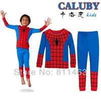 2014 new boys long sleeve spiderman  pajamas # XC-331  / kids clothing set / baby sleepwear