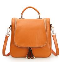 2014 genuine leather cowhide wax double-shoulder one shoulder women's multifunctional handbag vintage one shoulder bag 0424