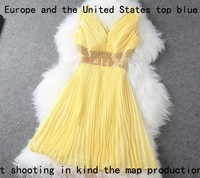 Free shipping fashion 2013 European high-end work elegance luxury evening dress Vintage deep v neck sequin wedding dress T1210