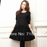2014 spring big size  clothing autumn long-sleeve dress 2013 plus size autumn clothing new arrival clothing XXXL XXXXL