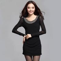 Gentlewomen basic elegant long-sleeve slim one-piece dress 2013 women's
