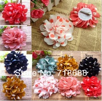 "Wholesale 3"" Polka Dots Silk Flowers Heads Fabric Hair Flower clip 30pcs/lot"