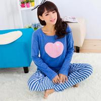 Autumn and winter girls sleepwear 100% long-sleeve cotton cartoon heart sleepwear at home pink lounge set