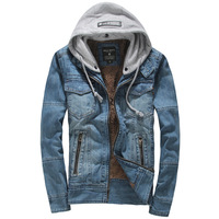 Men's winter thickening denim outerwear male plus velvet denim coat slim jacket male top with hooded