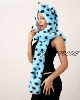 Fashion hat female winter animal cap faux fur one piece cartoon cap belt scarf