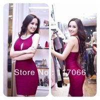 2014 new arrival fashion grape spaghetti O-neck backless sexy stain Bandage dresses short evening dress for sale