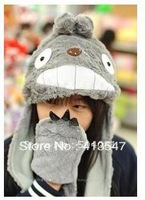My Neighbor Totoro Plush Hat Cap with Gloves Ghibli Totoro Cosplay Costumes Figure Plush Hat with Claw Pockets