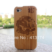 Hot Sale 1 Pieces Dragon wood case cover (dark bamboo) + 1piece film screen protector =2pieces/lot for iphone4/4S