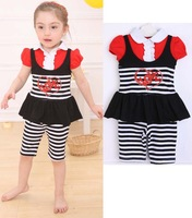 New 2013 hot sale Children's Clothing girls strawberry polka dot suits kids dress+pant=sets  baby clothes