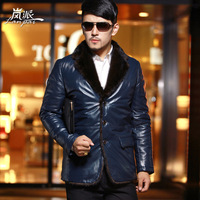 Luxury mink turn-down collar genuine leather clothing male genuine leather down coat thermal down leather clothing