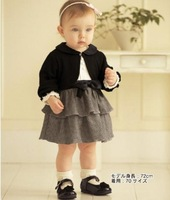 Retail baby girls twp pcs set Children's clothing baby girls child romper skirt infant coat princess dress set