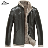 Berber fleece fur one piece leather clothing male genuine leather motorcycle jacket genuine sheepskin leather clothing leather