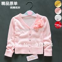 new 2014 Spring autumn girls sweater baby cotton thread long-sleeve thin sweater baby clothing knitting shirt cardigan baby coat