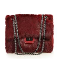 Women's handbag small sachet fur bag winter genuine leather black rabbit fur women's handbag fashion one shoulder cross-body