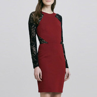 New In 2014 HighFashion Women Long Sleeve Lace Patch Design Slim Dress  Formal Dresses 1088 Plus Size XXL