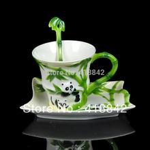 Ceramic panda eating bamboo Coffee Set/Tea Cup Saucer Spoon Weddings Gift