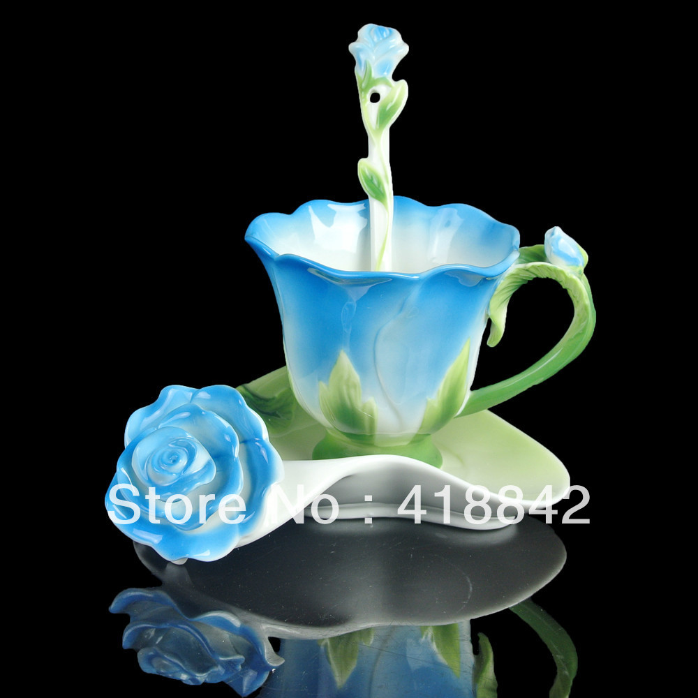 Ceramic Greenery Blue Rose Coffee Set Tea Cup Saucer Spoon Weddings Gift