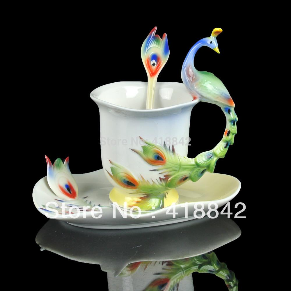 Ceramic Colorful Peacock Coffee Set Tea Cup Saucer Spoon Christmas Gift