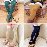 Free shipping 2013  Korean children Leggings idyllic small flowers floral velvet pantyhose / stockings dance