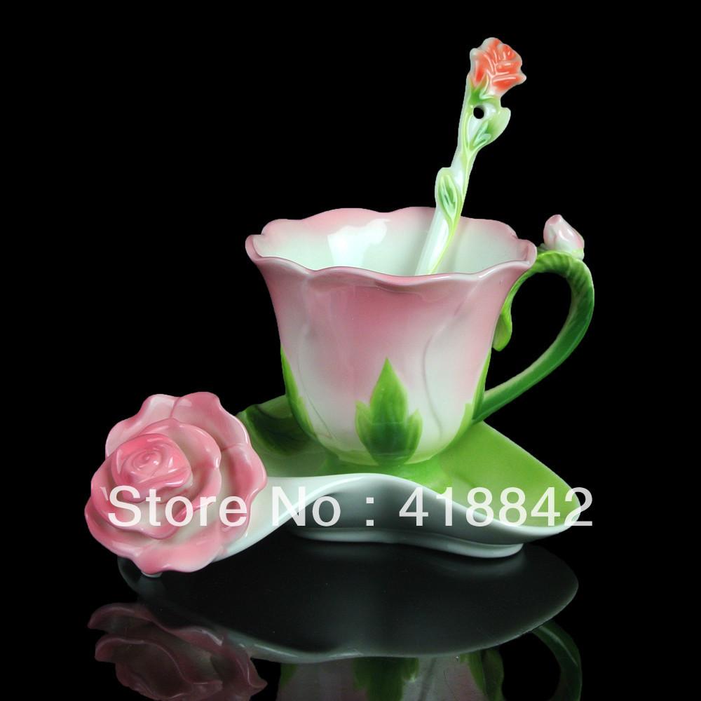Ceramic Greenery Pink Rose Coffee Set Tea Cup Saucer Spoon Weddings Gift