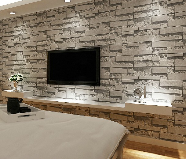 Stacked brick 3d stone wallpaper modern wallcovering pvc Grey wallpaper living room