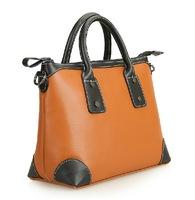 Women's handbag casual cowhide color block one shoulder women's genuine leather handbag r fashion brief lo women's handbag