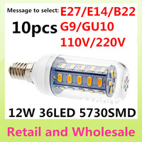 E14-5730SMD-36LED 10pcs/LOT+ Free Shipping+LED Corn Light Bulbs Lamps E27 B22 G9 GU10 12W Warm/Cool White Home Lighting