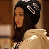 Hat hat female embroidery knitted hat knitted winter hat female