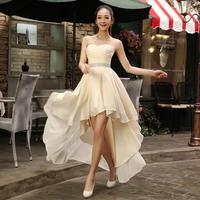 2014 evening dress bridesmaid dress cheongsam tube top low-high formal dress Free shipping
