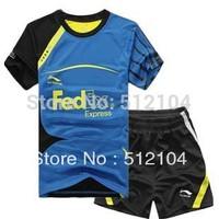 Wholesale free shipping New 2012 Li Ning Men Badminton  Shirt+short Colour: Blue/yellow