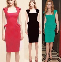 GODBEAD 2014 Elegant Square Collar Sleeveless Knee-length Sheath Stretch Slim Cocktail Party Pencil Women Dresses
