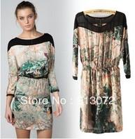 QZ186 New Ladies' elegant sexy ink print Dresses Vintage casual slim back hollow out elegant brand designer dress