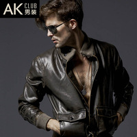 Water wash 2013 vintage leather jacket turn-down collar jacket male leather clothing