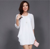 The new large size women's summer fashion lace chiffon dress temperament dress XL,XXL,XXXL,3XL,XXXXL,4XL free shipping