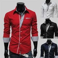 2014 Fashion New Long Sleeve Shirts Men,Korean Slim Design,Cotton Male Casual Shirts,4Color M-XXL Dress Shirt,Drop&Free Shipping