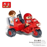Double motorcycle small particles assembling building blocks toy car